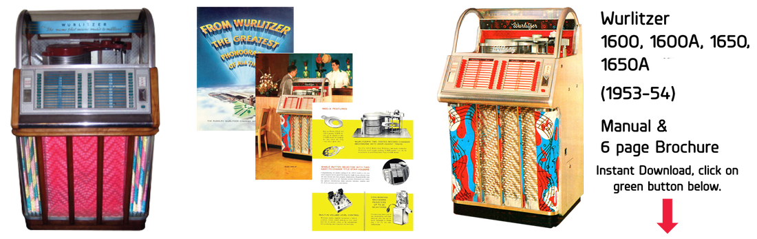 Wurlitzer Model 1600, 1600-A, 1650, 1650-A (1953-54) Manual & 6 Page Brochure