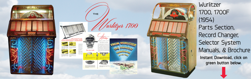 Wurlitzer  1700, 1700F (1954) Parts Section, Record Changer, Selector System Manuals, & Brochure