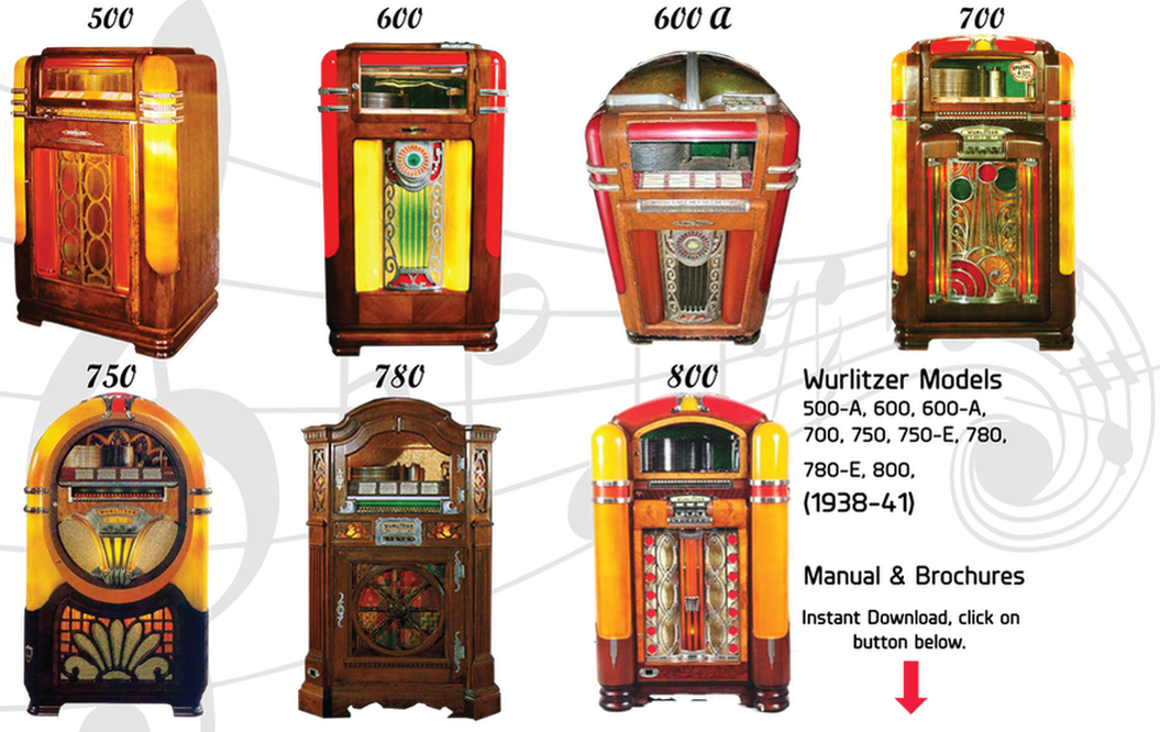 Wurlitzer 500, 500-A, 600, 600-A, 700, 750, 750-E, 780, 780-E, 800, (1938-41) Manual