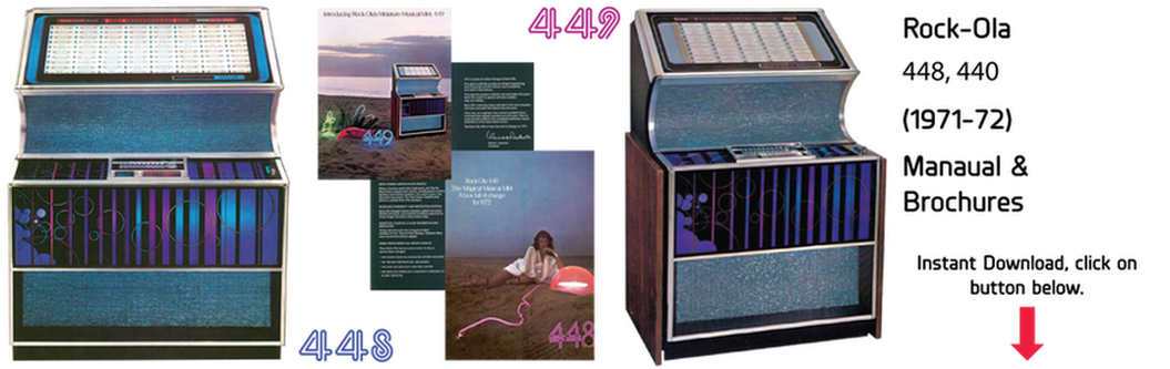 "Rock-Ola 448 ""Musical Mint"", Rock-Ola 449 ""Luxury Compact"" (1971-72) Manuals & Brochure"